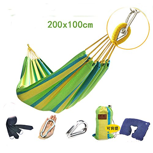 MONEYY Des hamacs simple double toile de couleur park Camping Auberges de jeunesse étudiante chambre à coucher swing ascenseur, 100*200cm,o