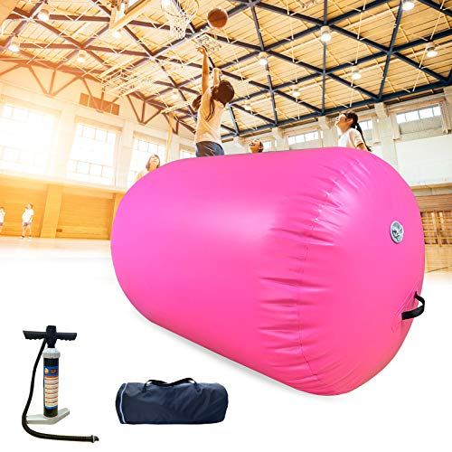 Gymnastics Mats Barrel Air Roller Inflatable Tumbling Mat, Air Barrel Tumble Track Gymnastic Equipment for Gym Home Use Training Cheerleading Yoga (PINK-Air Roller, length 3.3ft*diameter 23.6in)