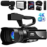 Video Camera 4K Camcorder Vlogging Camera for YouTube IR Night Vision 48MP 30FPS 3' Touch Screen 30X Digital Zoom Camera Recorder with Microphone
