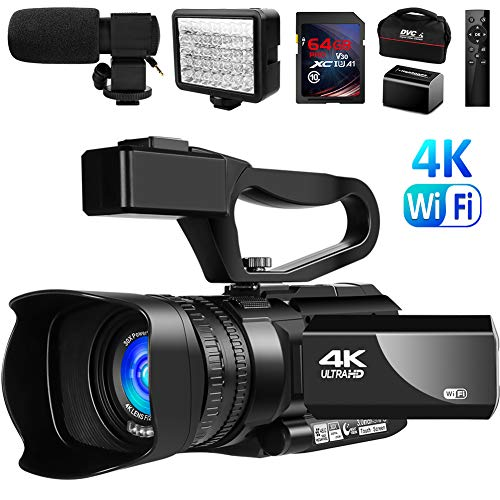 """Video Camera 4K Camcorder Vlogging Camera for YouTube IR Night Vision 48MP 30FPS 3"""" Touch Screen 30X Digital Zoom Camera Recorder with Microphone"""