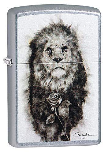 Zippo – Spazuk Lion - Street Chrome – Sturmfeuerzeug, nachfüllbar, in hochwertiger Geschenkbox