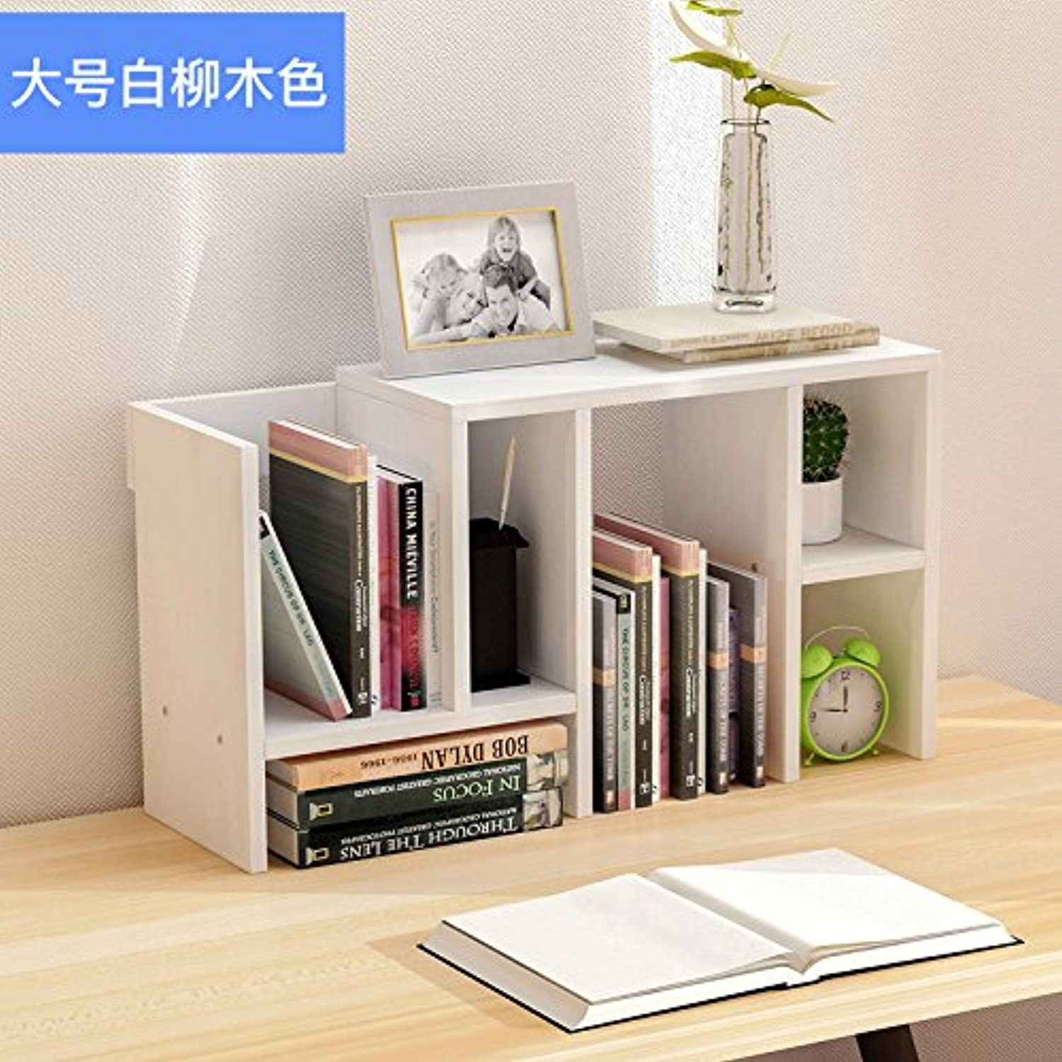 Creative bookshelves easy rack Small Office admitted rack scalable desktop bookcase , large white willow wood color