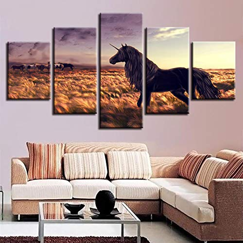 JYXJJKK 5 pintura de la lona del papel pintado 200 * 100 CM solo lienzo Pastizales animales caballo sol paisaje Se utiliza para la decoración de la sala de estar del dormitorio club de cambio de image