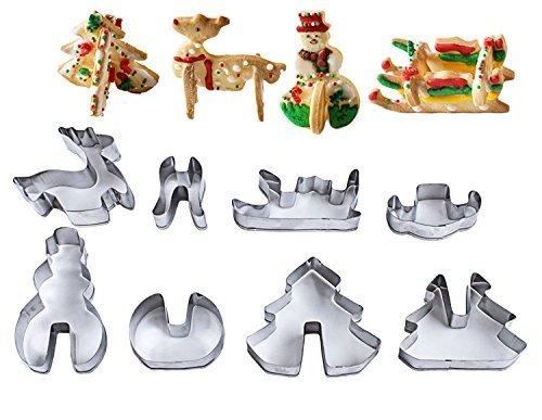 DZFGBSFGV 8 pièces Ensemble 3D de Noël Stéréo Cookie Impression Moule à Gâteau Outils de Cuisson en Acier Inoxydable Moule à Biscuit