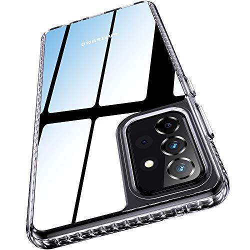 AINOYA Funda transparente compatible con Samsung Galaxy A72, no amarillea, carcasa rígida de policarbonato y silicona suave, para Galaxy A72