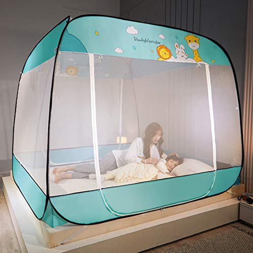 XINWANG Automatic Mosquito Net, Fully Automatic Mosquito-proof Cloth, Foldable, Fast and Installation-free Yurt Mosquito Net,Green-180 * 220cm