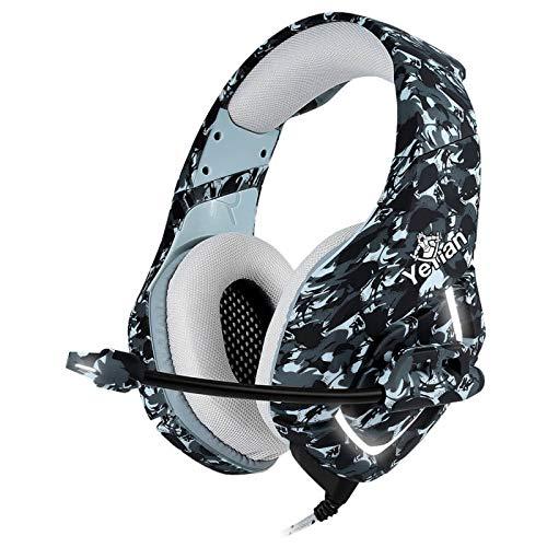 YEYIAN Auriculares Gaming Serie 3000 para Mando de Xbox One, PC, PS4,PS5, cancelación de Ruido a través de Auriculares con micrófono, Bass Surround, Auriculares de Suave Membrana para Juegos
