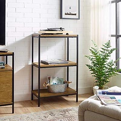 3 Tier Bookshelf by Aaron Furniture Designs Rustic Industrial Bookcase with Modern Open Shelves   Oak Brown Wood Look Accent Furniture Metal Frame   Storage Rack Shelf Unit   Bathroom   Living Room