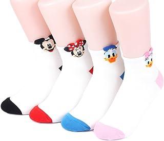 女性 靴下 セット Disney Sneakers Women's Socks 4 pairs Made in Korea - (MICKY,MINIE,DONALD,DAISY) Rookie 01