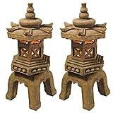 Design Toscano SS98577 Pagoda Lantern Illuminated Statue (Set of 2),gothic stone