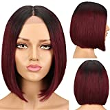 SPOTLIGHT Ombre Red Short Bob Wigs Human Hair 10 Inch Ombre Bob Lace Front Wigs Human Hair for Women 130% Density Silky Straight Human Hair Ombre Wigs TT1B/99J Color