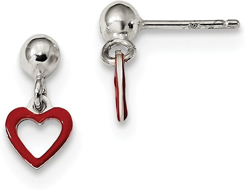 925 Sterling Silver Max 65% OFF Red Enamel Dangle Chandelier Ball Max 62% OFF Heart Drop