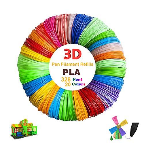 3D Pen Filament Refills PLA, 20 Colors 1.75mm 16 Feet per Color Total 328 Feet High Quality 3D Printing Pen Filament 3D Printer Filament for Most Intelligent 3D Pen