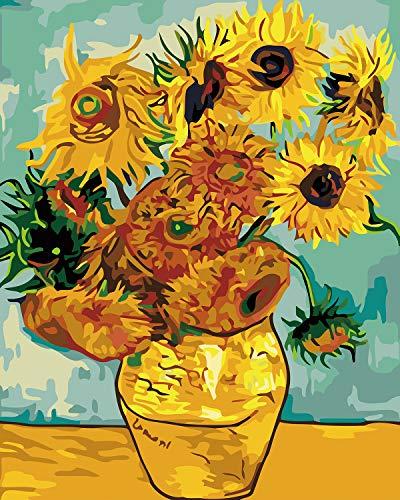 WISKALON DIY Gemälde Malen nach Zahlen Auf Leinwand für Erwachsene Kinder Anfänger - Sonnenblume von Van Gogh Ohne Rahmen