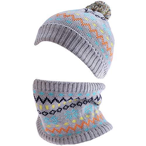 amropi Mädchen Kinder Mütze Handschuhe und Schal Set Bausatz Winterwärme (Grau, 2-5 Jahre)