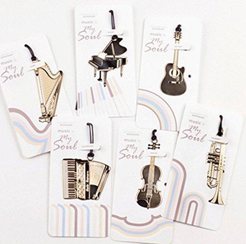 Da.Wa Marcapáginas Marcador de Libros de Metal de Exquisito Forma de Instrumentos Musicales (Juego de 6)