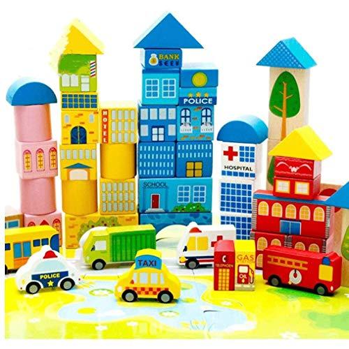 Zeyujie Bloques de construcción de tráfico de la ciudad Bloques educativos para niños Juguetes de educación temprana para niños, bloques de bloques de construcción 62pcs Bloques de construcción para n
