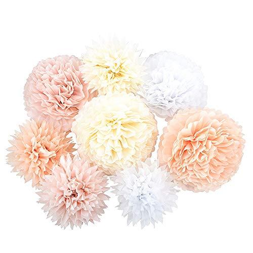 Aaoory - Juego de 8 Pompones de Color Blanco, Rosa, marrón, champán, Flores de Papel de Seda para decoración de Fiestas, cumpleaños, Bodas, Navidad (8 Juegos)