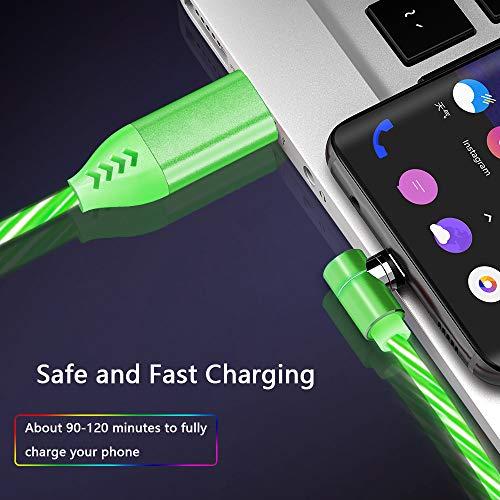 Kyerivs Magnetkabel Micro-USB-Ladekabel mit Sichtbar Fließender LED 3 in 1 Multi-Typ-C-Beleuchtungs-Ladekabel für Telefon 7 8 X, Samsung Galaxy (No Data Sync)