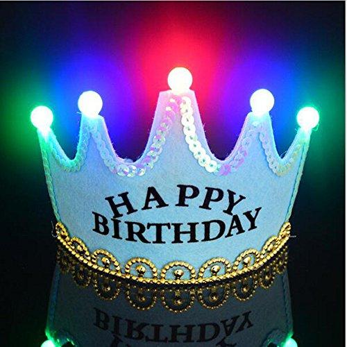OFT Prinzessin / Prinz Königskrone Krone Diadem Tiara Geburtstag Kopfschmuck mit Led Lampe für Kinder (blau Happy)