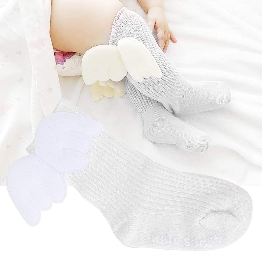 1 Pair Baby Girls Socks Angel Wings Decor Ruffles Knee High Soft Leg Warmer Stockings for Infants Toddlers(S-White)