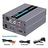 EASYCEL Convertitore RCA S-Video a HDMI, RCA Composite CVBS AV o S-Video + ingresso audio R/L per uscita HDMI Upscale, supporta 720P/1080P interruttore di uscita per N64, PS2, Wii, DVD