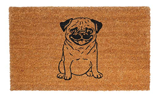 FAB HAB Pug Lover Felpudos 46 cm x 76 cm Natural Rubber, Anti-Deslizante, Durable