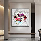 KWzEQ Graffiti Retrato Pintura al óleo Imagen Pared Arte Lienzo Pintura al óleo decoración Sala Cartel,Pintura sin Marco,30x30cm