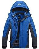 Wantdo Chaqueta Forro de Vellón Grueso Suave Parka Nieve Calefacción Invierno Abrigo Ligero Entretiempo Chaqueta para Acampar Senderismo para Hombre Azul Small