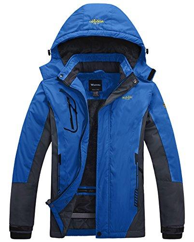 Wantdo Homme Veste de Ski Outdoor Veste Imperméable Coupe-Vent Manteau d'hiver Chaud avec Capuche Amovible Veste Sport Randonnée Coupe-Vent Bleu L