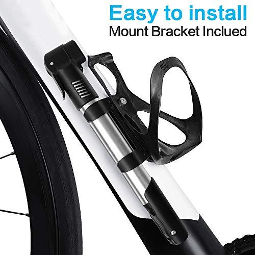 synmixx Mini Fahrradpumpe Fahrrad Luftpumpe für Fahrrad Max Druck 120 PSI/8 bar mit Presta & Schrader Minipumpen für Rennrad, Mountainbike - 4