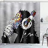 ASYOURWISH Banksy Shower Curtain Set with 12 Metal Hooks, Music Banksy Headphone Thinking Monkey Theme Design Farmhouse Rustic Decorative Bathroom Curtain 72×72 Inches