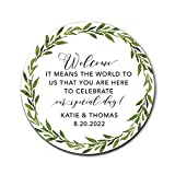Greenery Wedding Stickers for Welcome Bags,...
