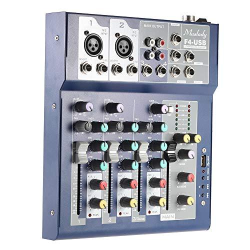 Muslady Mengpaneel F4 Professioneel metaal 4-kanaals leven roerapparaat 3-bands EQ USB-functie 48V fantoom met bulit-in effect processor microfoon ingang
