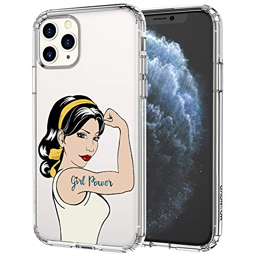 MOSNOVO iPhone 11 Pro Case, Girl Power Pattern Printed Clear Design Transparent Plastic Hard Back Case with TPU Bumper Protective Case Cover for iPhone 11 Pro