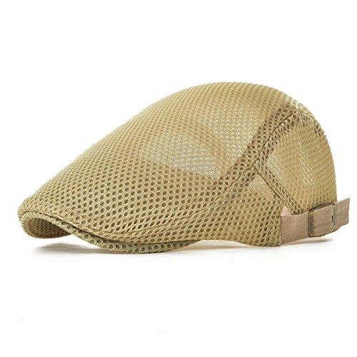 Kuyou Kuyou Herren Schirmmütze Sommer Kappe Hut Schiebermütze Flatcap (Beige)