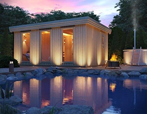 Premium Gartensauna Ardor mit Elektro- Saunaofen Irmina Slimline mit 9 kW Heizleistung und externer Steuerung für den Außenbereich