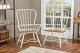 Baxton Studio Longford Dark-Walnut Wood and White Metal Vintage Industrial Dining Arm Chair (Set of 2)