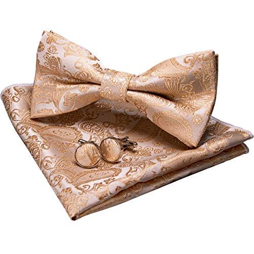 JEMYGINS Gold Paisley Fliege und Einstecktuch mit Manschettenknöpfe Sets für Herren (Gold2)