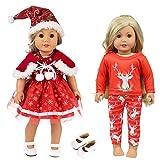 ZITA ELEMENT 6 Stück Puppe Weihnachten Kleidung Outfits Pyjamas Kleider + 1 weiße Schuhe für 18...