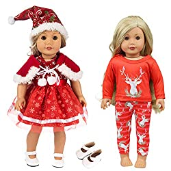 🎄 WHAT YOU GET: 1 Xmas Hat + 1 Shawl + 1 dress + 1 tops + 1 pants + 1 white shoes for 18 inch girl doll(Pls kindly know that dolls are Not included) ⭐ UNIQUE DESIGN: Deer and red make this American 18 inch girl doll clothes sets more suitable to be a...