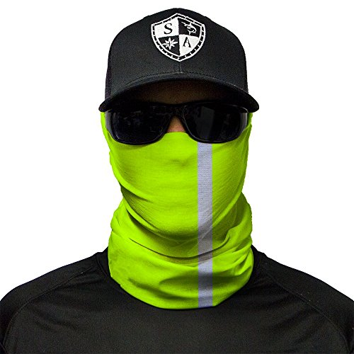 SA Fishing Cache-nez/cache-col/bandana/foulard/masque polyvalent, plus de 40 motifs disponibles, en tissu avec indice de protection UV 40, Reflective Face Shield | Electric Green
