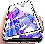 LIUKM Custodia per Huawei P30 Lite Adsorbimento Magnetico Cover 360 Gradi Protezione Cornice Metallica Doppi Lati Trasparente Vetro Temperato Custodia - Argento