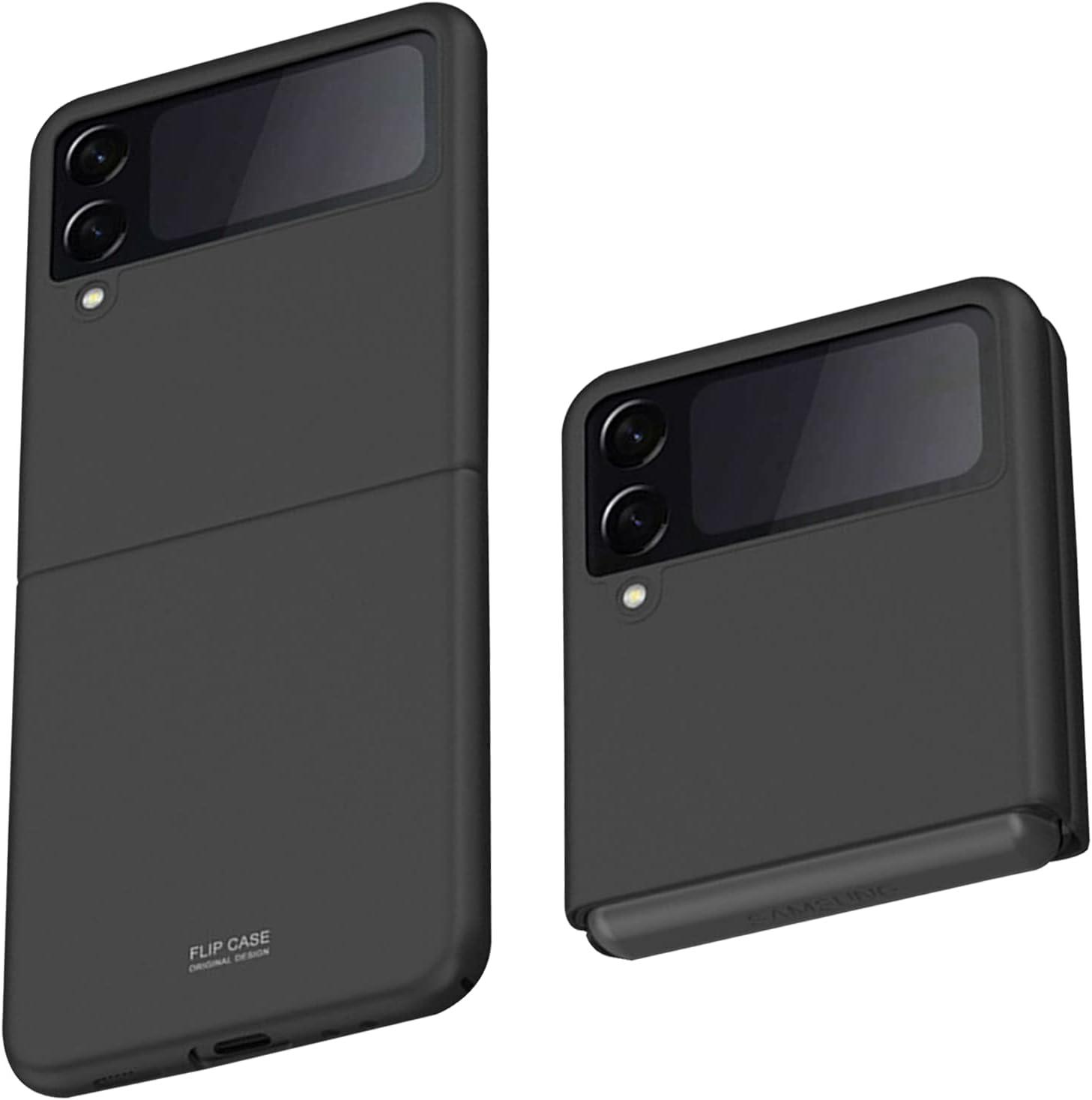 Z Flip 3 Case, Slim fit Samsung z flip 3 case 5G Phone Case Full Protection Cover Hard PC Shockproof Durable Protective Phone Cover for Z Flip3 5G (Black)