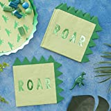 Ginger Ray Green Dinosaur Spike Shaped Paper Party Boys Napkins 16 Pack Roarsome