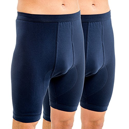 HERMKO 3980 2er Pack Herren Longpant mit Eingriff, hoher Leib aus 100% Bio-Baumwolle, Größe:D 6 = EU L, Farbe:schwarz