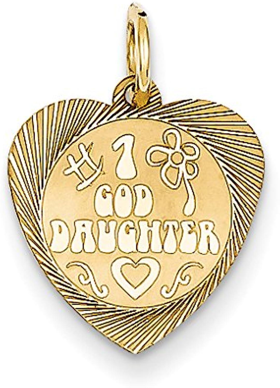 14k Yellow gold  1 Goddaughter Heart Pendant
