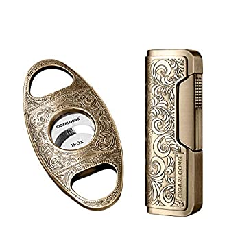 CIGARLOONG Cigar Cutter and Lighter Set Sharpening Blade Engraved Cigar Guillotine and Retro Carved Lighter Color Gold