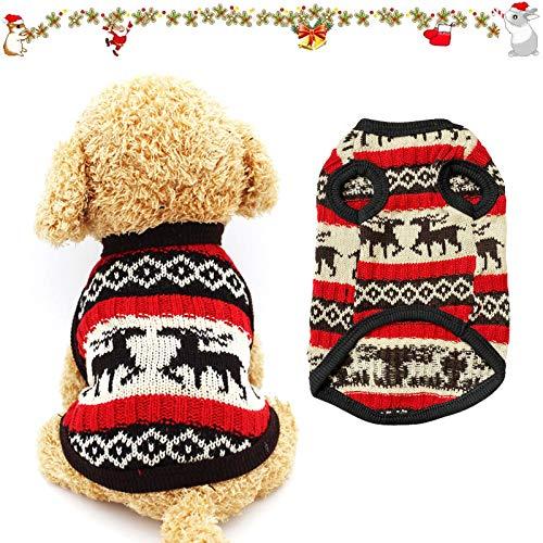 Sunshine smile Haustier Pullover,Katze Hund Pullover,Haustier Katze Hund Pullover,Strickwaren Haustier Pullover,Hundemantel,Hundejack,Hund Katze Strickpullover,Hundekostüm Weihnachten(S, Rotes REH)