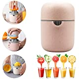 Manual Juicer Citrus Lemon Orange Hand Squeezer Hand Juicer Citrus Squeezer Manual Hand Juicer Lid Rotation Press Anti-Slip Reamer with Strainer and Container, Pink